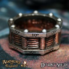 Alchemy Gothic AG-R149 Hi-Voltage Toric Generator Ring  A two-tone pewter band ring with bronzed simulated winding around the centre.