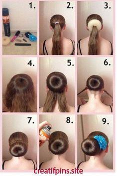 How to do a sock bun with a hair donut Donut Bun Hairstyles, Mom Hairstyles, Trendy Hairstyles, Braided Hairstyles, Hair Bun Donut, Doughnut Bun, How To Bun, Ballet Hairstyles, Hair Day