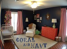 Lois' Coral and Navy Nursery #nursery #coralandnavy