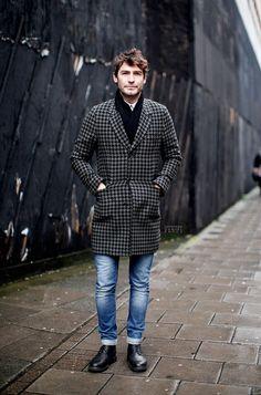 Houndstooth Coat, Garconjon: Robert Konjic: New Oxford Street, London, Men's Fall Winter Fashion. Paul Smith, Burberry, Blazers, New Oxford, Mens Winter Coat, Fall Winter, Gents Fashion, Sharp Dressed Man, Well Dressed