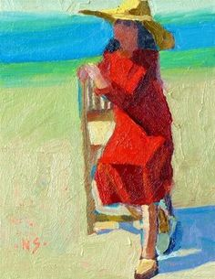 """A Girl Needs a Red Dress 13027"" - 9x7 on canvas panel Original Fine Art for Sale - © Nancy Standlee"