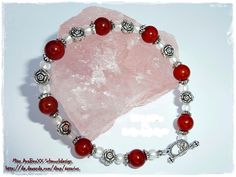 Karneol-Edelstein-Armband in rot-weiß-silber von LuXXury Queen - Luxury Jewelry for Special People auf DaWanda.com