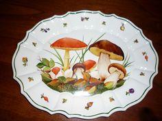 large ceramic plate Painted with mushrooms by Angela Davies Ceramic Painting, China Painting, Mushroom Art, Glazes For Pottery, Ceramic Plates, Decorative Plates, Kitchenware, Tableware, China Plates
