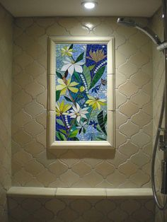 Charmant Floral Mosaic Wall Art Panel   Dark Blue Stained Glass Indoor Or Outdoor  Mosaic Artwork Garden Pation Kitchen Bathroom