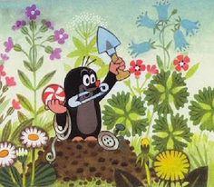 So colourful! (Zdenek Miler) La Petite Taupe, Bedroom Murals, Ads Creative, Pink Balloons, Cool Cartoons, Children's Book Illustration, Mole, Archaeology, Diy Beauty