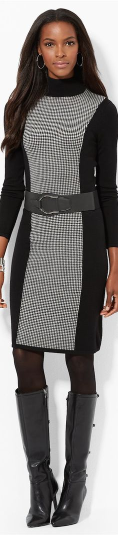 Lauren by Ralph Lauren ● Lauren Houndstooth Turtleneck Dress