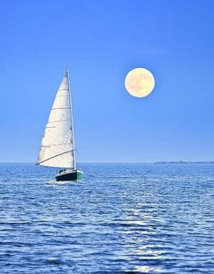 Great shot of a sailboat sailing at twilight with the moon rising over the horizon and the water. Full Moon Night, Night Sea, Shoot The Moon, Moon Print, Beautiful Moon, Perfect World, Blue Moon, Moonlight, Fine Art America