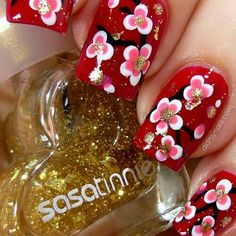Red white pink flowers gold glitter nail art
