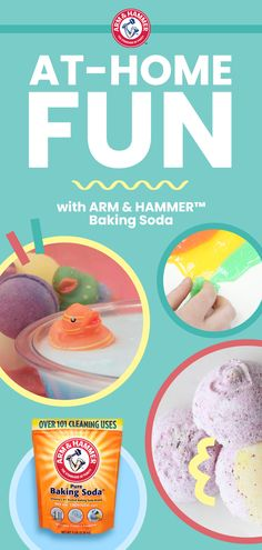 From Bath Fizzies to Tie Dye Slime, there's so much at-home fun to be had with ARM & HAMMER™ Baking Soda. Discover simple DIY projects you can try with your kids. Toddler Snacks, Toddler Crafts, Crafts For Kids, Diy Projects For Kids, Diy For Kids, Craft Projects, Make Slime For Kids, Craft Ideas, Summer Activities