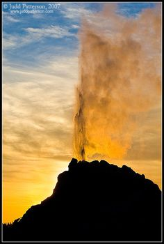 ✯ Geyser Sunset - Beautiful White Dome Geyser in the setting sun of Yellowstone National Park
