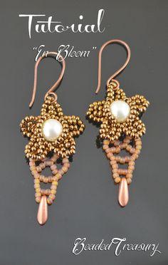 """""""In Bloom"""" beaded earrings tutorial. Bead pattern by BeadedTreasury"""