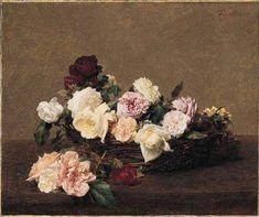 """A Basket of Roses - Henri Fantin-Latour-This is the painting that famously appears as NewOrder's """"Power, Corruption and Lies"""" LP cover. For the LP,  graphic designer,Peter Saville, cropped a bit off the right side, top and the colors don't transfer exactly. On purpose or not, I dunno."""