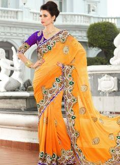 Stunning Light Orange Saree 122 http://www.angelnx.com/Sarees
