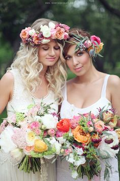 I kind of love the idea of a flower crown instead of a vail. But something more dainty...not so big of flowers!