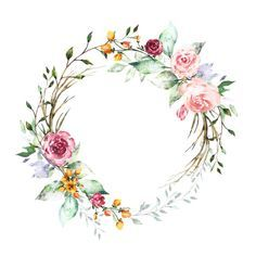 Photo Frame Floral, Flower Frame, Flower Art, Wreath Watercolor, Watercolor Flowers, Watercolor Art, Instagram Frame, Instagram Highlight Icons, Floral Border