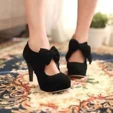 Womens lady Retro Faux Suede Bow Tie High Heel Platform Pumps Court Shoes
