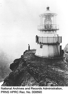 1870 Historic photo of the Point Reyes Lighthouse. National Archives and Records Administration, PRNS HPRC Rec. No. 008690.