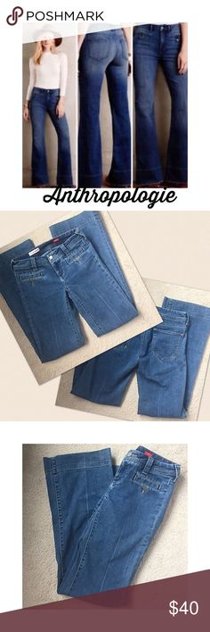 """Anthro Pilcro Slit pocket flare jeans 26 Anthropologie Oilcro front slit buttoned pocket flare leg jeans, button fly & 4 pockets. 74% cotton, 26% polyester and fit true to size. Excellent condition. 14"""" flat waist, 8"""" rise, & 33"""" inseam. 9.5"""" leg opening💖 Anthropologie Jeans Flare & Wide Leg"""