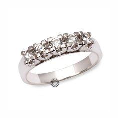 Κλασικό λευκόχρυσο σειρέ δαχτυλίδι Κ18 με 5 διαμάντια μπριγιάν | Δαχτυλίδια με διαμάντια ΤΣΑΛΔΑΡΗΣ στο Χαλάνδρι #σειρέ #δαχτυλίδι #διαμάντια #rings #diamonds