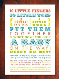 Colorful Baby Shower Invitation - words, gender neutral (Printable Digital File)