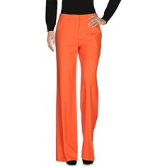 Diane Von Furstenberg Casual Pants ($264) ❤ liked on Polyvore featuring pants, orange, flared pants, multi pocket pants, flare trousers, wool trousers and zip pants