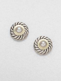 David yurman Pearl Sterling Silver 14k Gold Button Earrings in White (pearl)