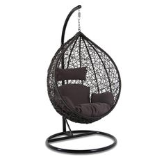 Island Gale Hanging Basket Chair Outdoor Front Porch Furniture with Stand and Cushion (Grey Wicker, Brown Cushion) Outdoor Balcony Furniture, Front Porch Furniture, Outdoor Chairs, Hanging Swing Chair, Swinging Chair, Swing Chairs, Indoor Balcony, Balcony Garden, Garden Storage Bench