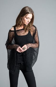 Hand Knit Top / Stylish Cropped Blouse / Black Bolero Sweater / Long Sleeve Top / Short Cover Up / Long Sleeve Shrug / marcellamoda - MC423