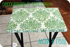How to...decoupaged TV  tray table - easy to do with nice wrapping paper!