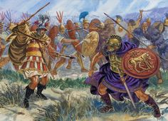 A Roman centurion throwing his pilum against a Carthaginian (?). In the north of Italy pointed geography, some areas of the Aples.