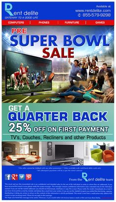 Get a Quarter Back 25% OFF on #TVs, #Couches, #Recliners, and other products.  #QuarterBackSale