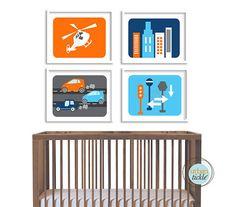 Modern City Art Prints for Child's room, Modern City Life, set of 4, 11X14, Nursery decor, Boys room decor