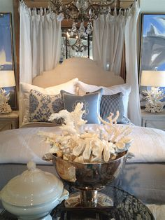 beautiful neutral tones with silver and a touch of calming blue