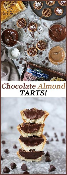 These Easy Chocolate Almond Tarts made with Ghirardelli chocolate are so easy to make and are decadently delicious. They are an amazing addition to any gathering, or whip them up and keep them all to yourself – like I do! Holiday Desserts, Easy Desserts, Delicious Desserts, Christmas Recipes, Healthy Desserts, Yummy Food, Healthy Recipes, Best Gluten Free Desserts, Best Dessert Recipes