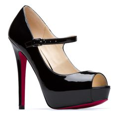 """Richelle"" - Glossy faux-patent leather Signature Sole Mary Jane platform heel with ankle strap. Black with red."