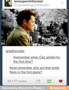 ''Remember when Cas smiled for the first time? And remember who put that smile there in the first place?'' / Castiel  Dean