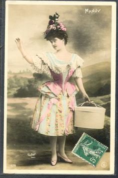 PW041-ARTIST-STAGE-STAR-MANUY-FANCY-HAIRSTYLE-HATBOX-Tinted-PHOTO-pc-REUTLINGER
