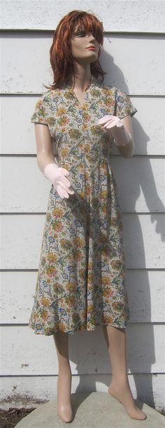 Vintage 1930's1940's Floral Rayon Day Dress by delilahsdeluxe, $37.50