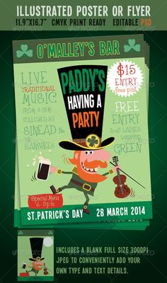St. Patrick's Day Party Event Poster/Flyer - Holidays Events