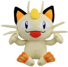 """NEW Official Pokemon Best Wishes Plush Toy - 7"""" Meowth (Japanese Import)"""