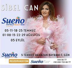 Sueno Hotels Beach Side  05-11-18-25 Temmuz -01-08-15-22-29 Ağustos-05 Eylül Rezaervasyon: 444 66 77 / +90 850 723 66 77