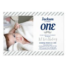 Silver Mustache | Boy 1st Birthday Photo Card - unusual diy cyo customize special gift idea personalize