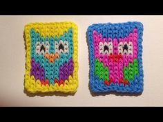 Rainbow Loom Nederlands, Mini Mural, uiltje, easy! Rainbow Loom Tutorials, Rainbow Loom Patterns, Rainbow Loom Creations, Rainbow Loom Bands, Rainbow Loom Charms, Loom Crochet, Loom Knitting, Loom Band Charms, Manualidades