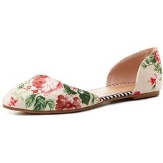 Charlotte Russe Floral Pointed Toe D'Orsay Flats (20 AUD) ❤ liked on Polyvore featuring shoes, flats, pointy toe shoes, pointed toe shoes, striped flats, flat pumps and floral flats