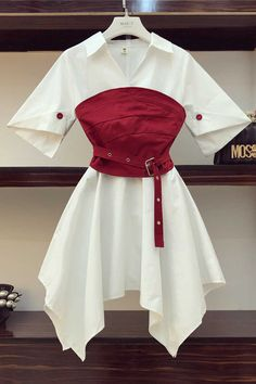 2020 Summer Design Women V Neck Irregular White Shirt Dress + Red Corset Belt Asymmetry Sexy Girdle Women 2 Piece Clothing Set Stage Outfits, Teen Fashion Outfits, Kpop Outfits, Edgy Outfits, Cute Casual Outfits, Fashion Dresses, Gothic Fashion, Red And White Outfits, Red Corset