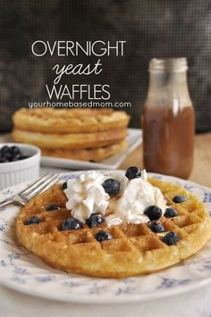 Our family's favorite recipe of all times!  Overnight Yeast Waffles @yourhomebasedmom.com #waffles #breakfast #recipes