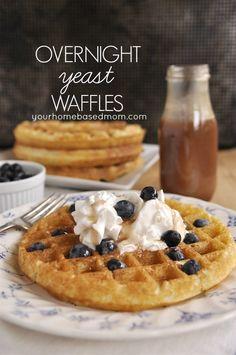 Overnight Yeast Waffles @yourhomebasedmom.com #breakfast #waffles #recipes