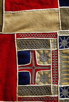 """A detail of traditional Sami female clothing with pewter """"goldwork"""" embroidery from Lappland, Sweden. Textile Fiber Art, Textile Artists, Fibre Art, Traditional Fabric, Traditional Art, Lappland, Textiles, Gold Work, How To Purl Knit"""