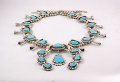 70's Blue Gem Turquoise & Sterling Silver Navajo Squash Blossom Necklace