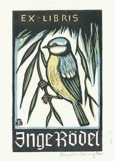 Ex libris by Hans Michael Bungter for Inge Rödel